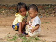 Children outside Angkor Wat, Cambodia