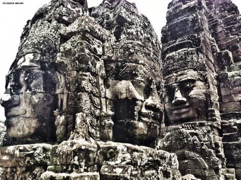 Bayon temple cambodia faces