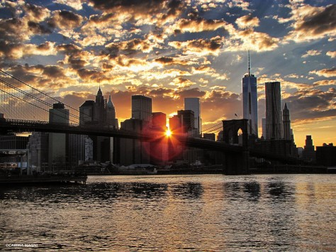 sunset from dumbo manhattan