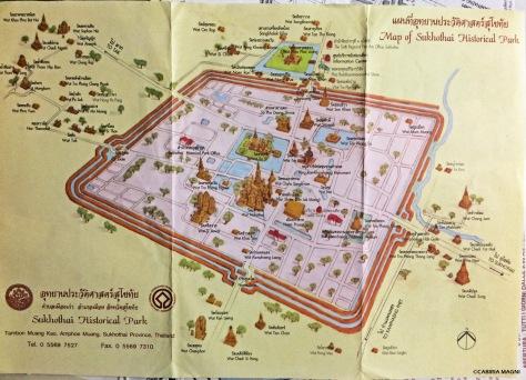 Mappa parco archeologico Sukhothai Thailandia