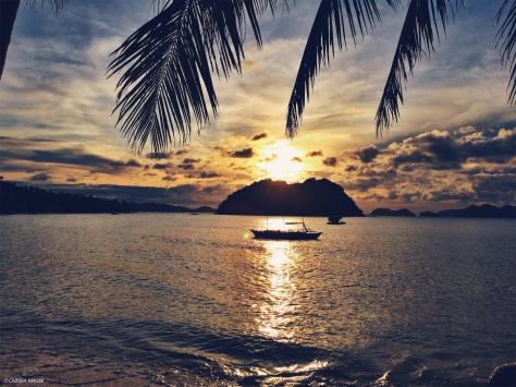 Las Cabañas, tramonto, Palawan, Filippine