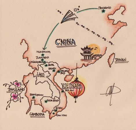 Itinerario Asia 2015 disegno Cabiria Magni