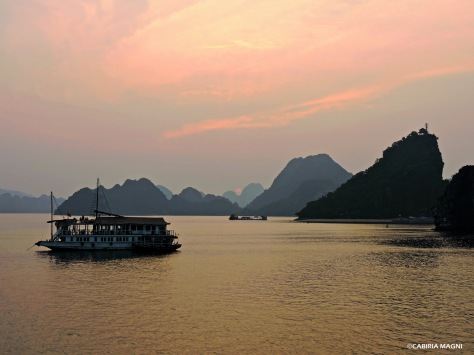 Sunset in Ha Long Bay, Vietnam