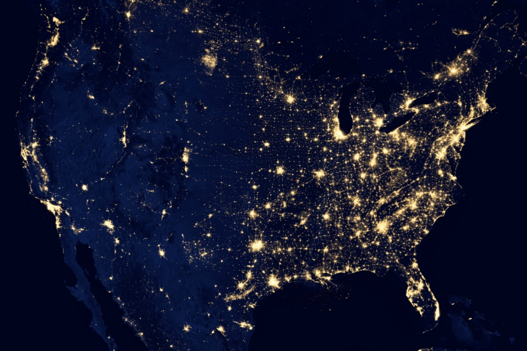 USA from the space by NASA
