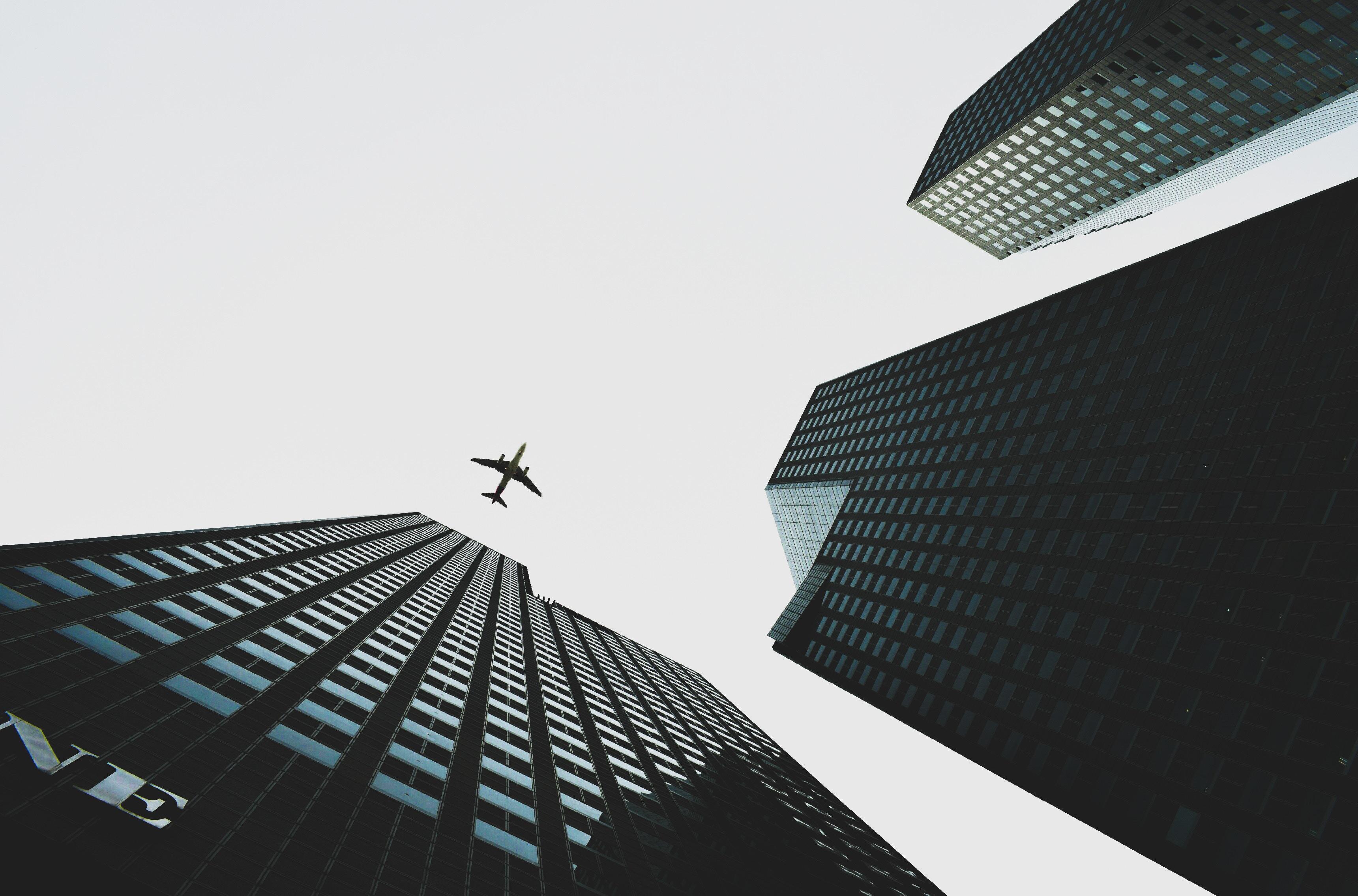 plane, sky, city